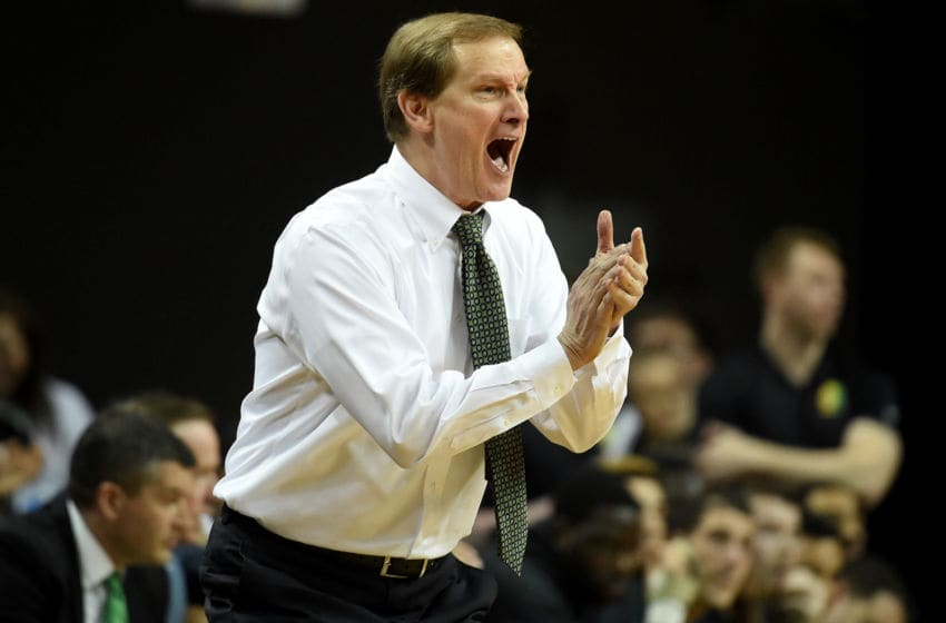 EUGENE, OREGON - MARCH 05: Head coach Dana Altman of the Oregon Ducks yells out to his team during the second half against the California Golden Bears at Matthew Knight Arena on March 05, 2020 in Eugene, Oregon. Oregon won 90-56. (Photo by Steve Dykes/Getty Images)