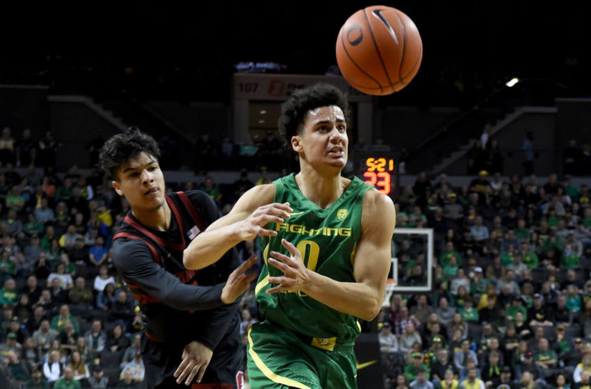 EUGENE, OREGON - MARCH 07: Tyrell Terry #3 of the Stanford Cardinal knocks the ball away from Will Richardson #0 of the Oregon Ducks during the first half at Matthew Knight Arena on March 07, 2020 in Eugene, Oregon. (Photo by Steve Dykes/Getty Images)