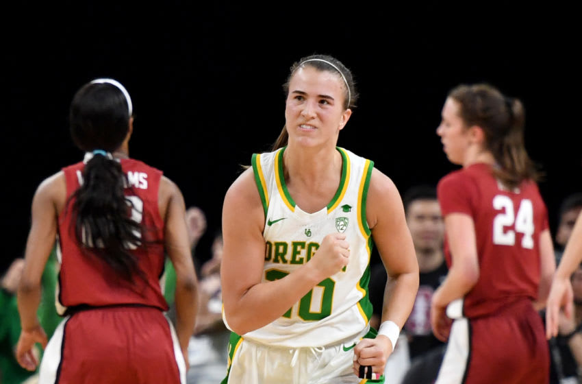 LAS VEGAS, NEVADA - MARCH 08: Sabrina Ionescu #20 of the Oregon Ducks reacts after scoring against the Stanford Cardinal during the championship game of the Pac-12 Conference women's basketball tournament at the Mandalay Bay Events Center on March 8, 2020 in Las Vegas, Nevada. (Photo by Ethan Miller/Getty Images)