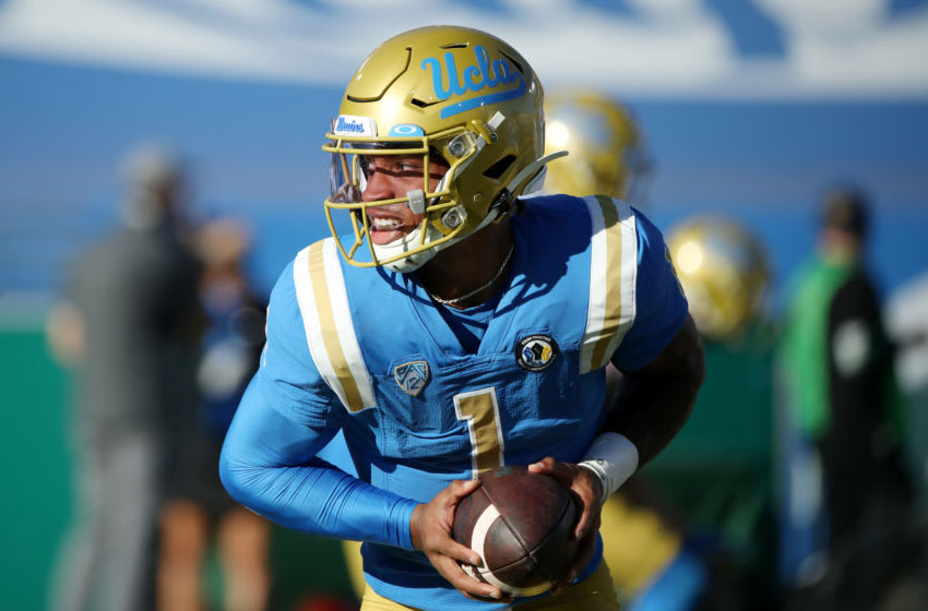 PASADENA, CALIFORNIA - NOVEMBER 15: Dorian Thompson-Robinson #1 of the UCLA Bruins warms up before the game against the California Golden Bears at the Rose Bowl on November 15, 2020 in Pasadena, California. (Photo by Katelyn Mulcahy/Getty Images)