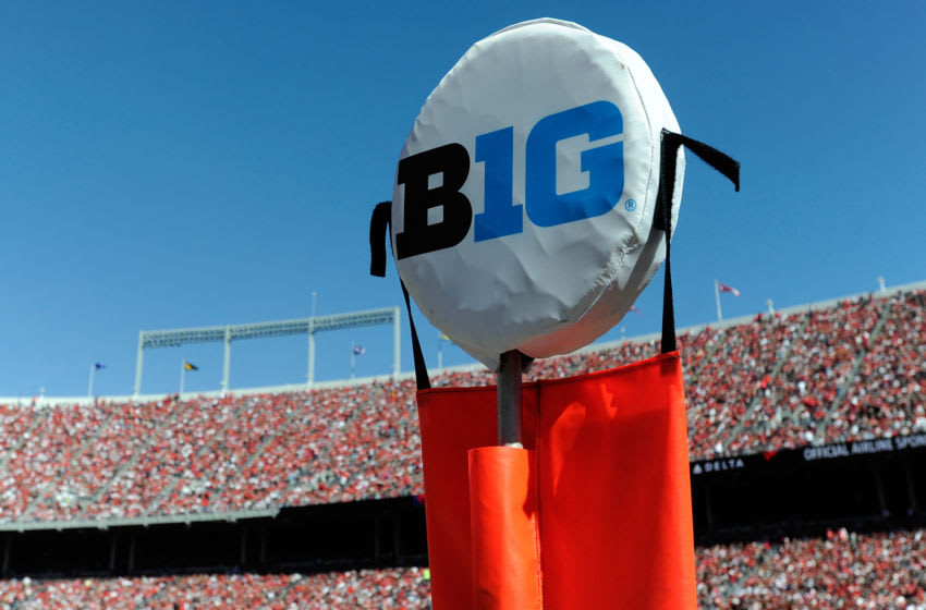 COLUMBUS, OH - OCTOBER 10: The Big Ten logo on the yardage markers at the game between the Ohio State Buckeyes and the Maryland Terrapins at Ohio Stadium on October 10, 2015 in Columbus, Ohio. (Photo by G Fiume/Maryland Terrapins/Getty Images)