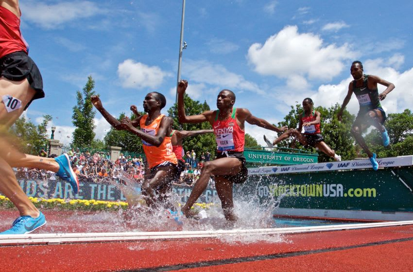 EUGENE, OR - MAY 26: Benjamin Kigen of Kenya runs in the men's 3000 meter steeplechase during the 2018 Prefontaine Classic at Hayward Field on May 26, 2018 in Eugene, Oregon. (Photo by Craig Mitchelldyer/Getty Images)
