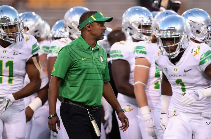 TEMPE, AZ - SEPTEMBER 23: Head coach Willie Taggart of the Oregon Ducks watches warm ups to the college football game against the Arizona State Sun Devils at Sun Devil Stadium on September 23, 2017 in Tempe, Arizona. (Photo by Christian Petersen/Getty Images)