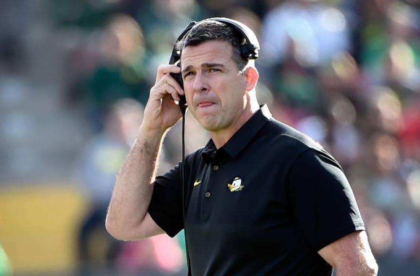 LAS VEGAS, NV - DECEMBER 16: Head coach Mario Cristobal of the Oregon Ducks looks on during the Las Vegas Bowl against the Boise State Broncos at Sam Boyd Stadium on December 16, 2017 in Las Vegas, Nevada. Boise State won 38-28. (Photo by David Becker/Getty Images)