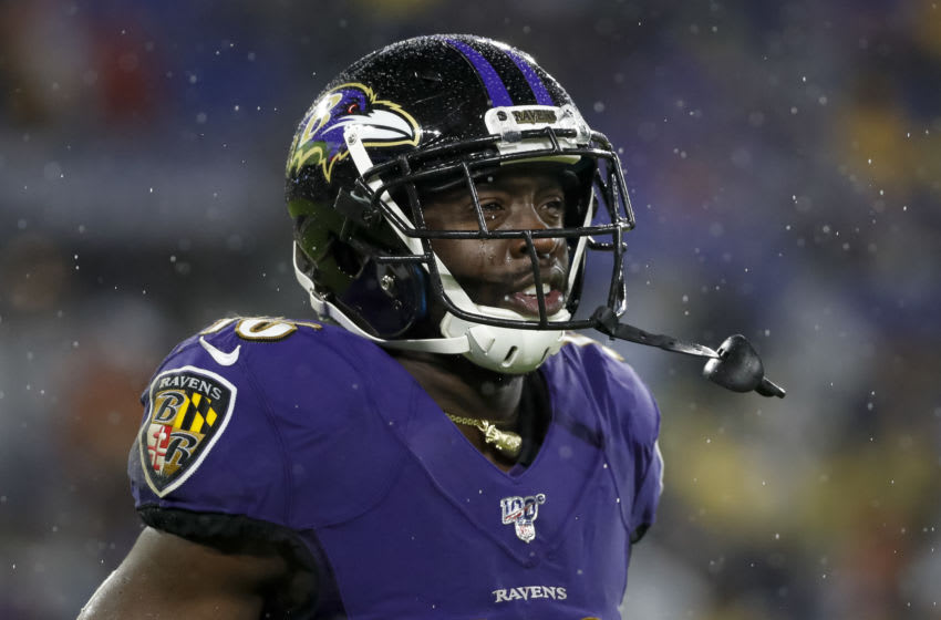 BALTIMORE, MD - DECEMBER 29: De'Anthony Thomas #16 of the Baltimore Ravens looks on during the second half of the game against the Pittsburgh Steelers at M&T Bank Stadium on December 29, 2019 in Baltimore, Maryland. (Photo by Scott Taetsch/Getty Images)