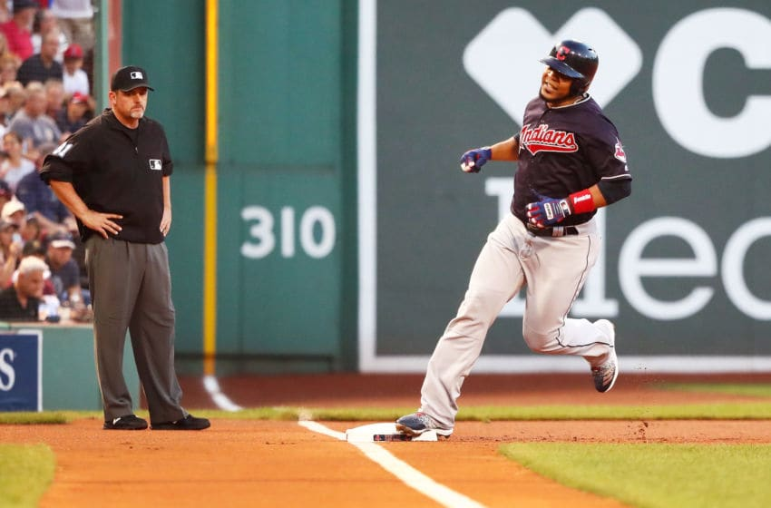 BOSTON, MA - AUGUST 22: Edwin Encarnacion #10 of the Cleveland Indians rounds third base after hitting a two-run home run in the first inning of a game against the Boston Red Sox at Fenway Park on August 22, 2018 in Boston, Massachusetts. (Photo by Adam Glanzman/Getty Images)