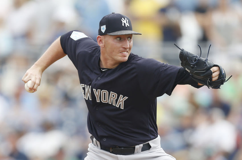 PORT CHARLOTTE, FLORIDA - FEBRUARY 24: Trevor Stephan #81 of the New York Yankees delivers a pitch against the Tampa Bay Rays during the Grapefruit League spring training game at Charlotte Sports Park on February 24, 2019 in Port Charlotte, Florida. (Photo by Michael Reaves/Getty Images)