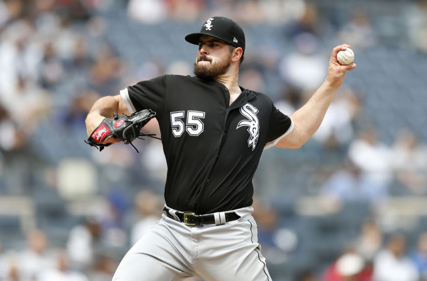 NEW YORK, NEW YORK - APRIL 14: Carlos Rodon #55 of the Chicago White Sox in action against the New York Yankees at Yankee Stadium on April 14, 2019 in the Bronx borough of New York City. The White Sox defeated the Yankees 5-2. (Photo by Jim McIsaac/Getty Images)