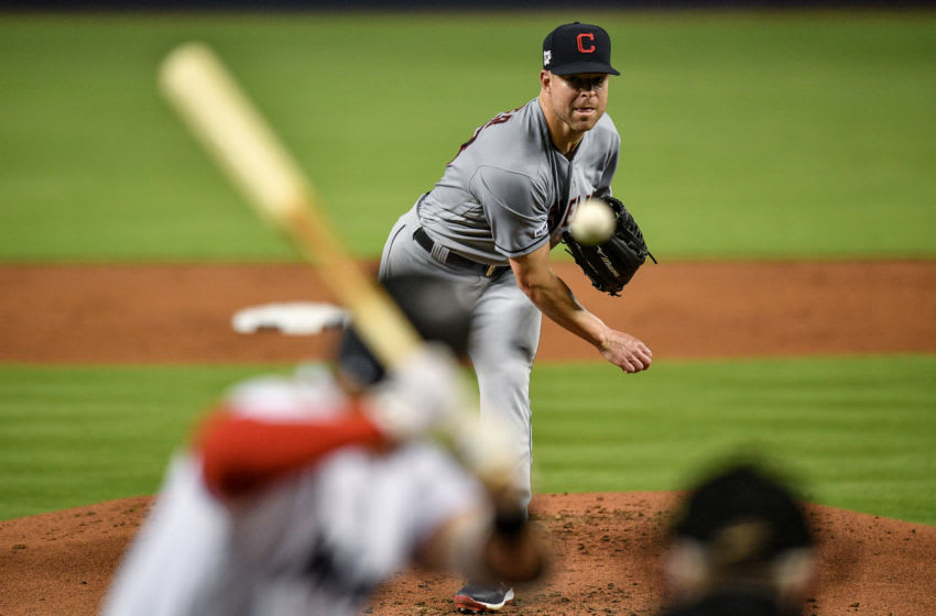 Corey Kluber #28 of the Cleveland Indians (Photo by Mark Brown/Getty Images)