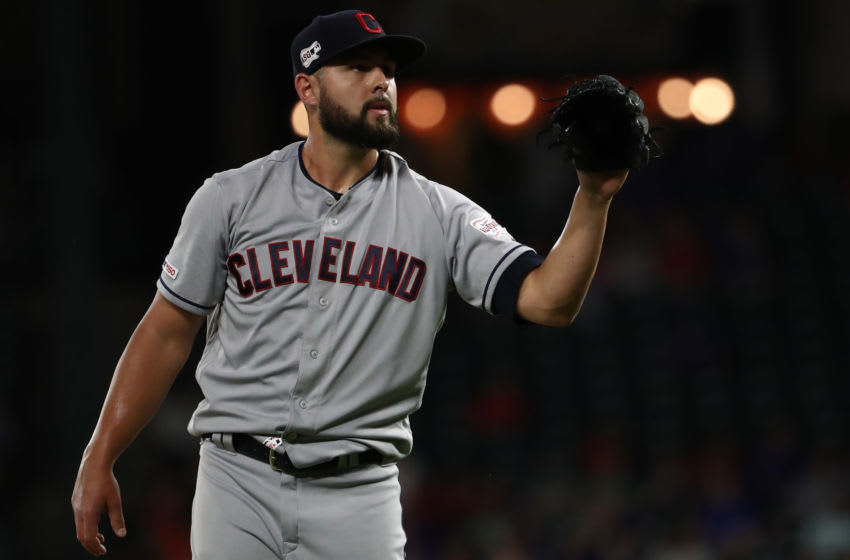 ARLINGTON, TEXAS - JUNE 19: Nick Goody #44 of the Cleveland Indians throws against the Texas Rangers in the sixth inning at Globe Life Park in Arlington on June 19, 2019 in Arlington, Texas. (Photo by Ronald Martinez/Getty Images)