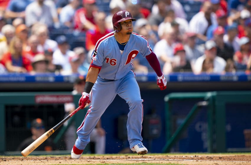 PHILADELPHIA, PA - AUGUST 01: Cesar Hernandez #16 of the Philadelphia Phillies hits a two RBI bases loaded double in the bottom of the second inning against the San Francisco Giants at Citizens Bank Park on August 1, 2019 in Philadelphia, Pennsylvania. (Photo by Mitchell Leff/Getty Images)