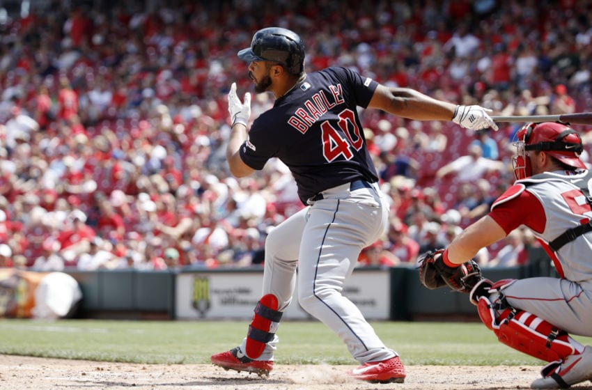 CINCINNATI, OH - JULY 07: Bobby Bradley #40 of the Cleveland Indians hits a double to deep left center field to drive in a run in the eighth inning against the Cincinnati Reds at Great American Ball Park on July 7, 2019 in Cincinnati, Ohio. The Indians won 11-1. (Photo by Joe Robbins/Getty Images)