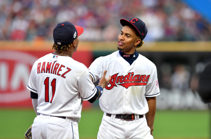 CLEVELAND, OHIO - JULY 30: Jose Ramirez #11 of the Cleveland Indians and Francisco Lindor #12 walk off the field after the end of the top of the fifth inning against the Houston Astros at Progressive Field on July 30, 2019 in Cleveland, Ohio. (Photo by Jason Miller/Getty Images)