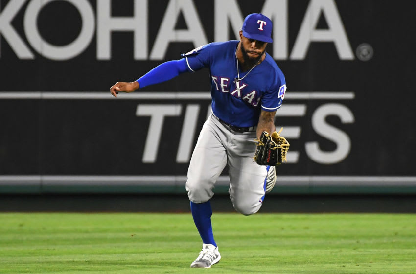 ANAHEIM, CA - AUGUST 28: Delino DeShields #3 of the Texas Rangers makes a play during the game against the Los Angeles Angels at Angel Stadium on August 28, 2019 in Anaheim, California. (Photo by Jayne Kamin-Oncea/Getty Images)