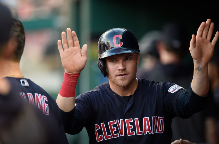 WASHINGTON, DC - SEPTEMBER 29: Jake Bauers #10 of the Cleveland Indians celebrates with teammates after scoring in the seventh inning against the Washington Nationals at Nationals Park on September 29, 2019 in Washington, DC. (Photo by Greg Fiume/Getty Images)