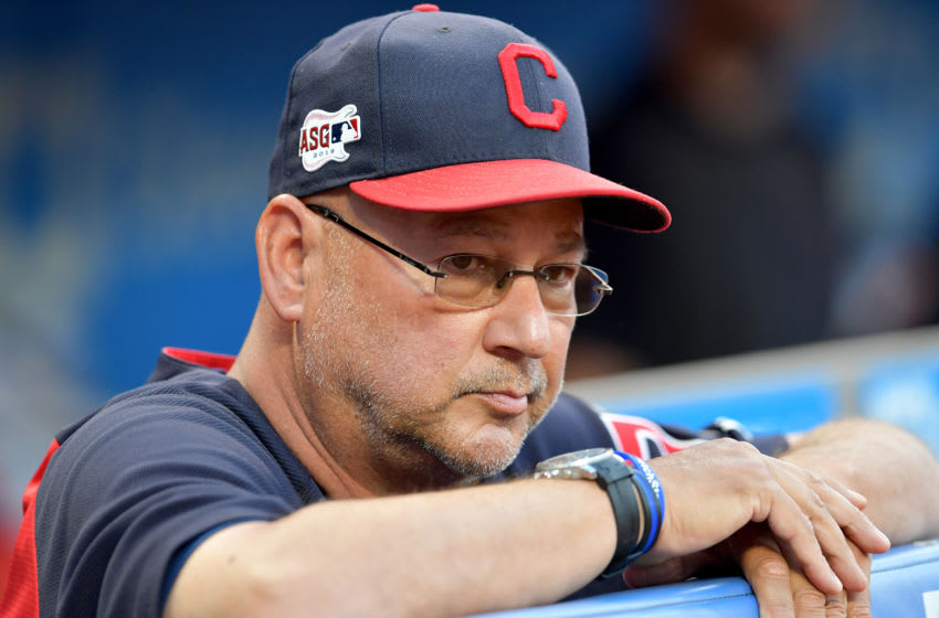CLEVELAND, OHIO - SEPTEMBER 13: Manager Terry Francona #77 of the Cleveland Indians waits for the start of the game against the Minnesota Twins at Progressive Field on September 13, 2019 in Cleveland, Ohio. (Photo by Jason Miller/Getty Images)