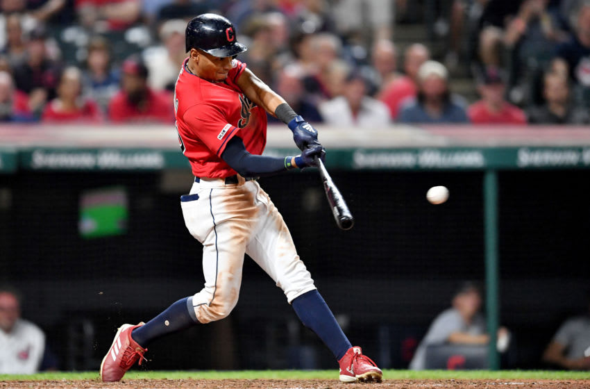 CLEVELAND, OHIO - SEPTEMBER 20: Oscar Mercado #35 of the Cleveland Indians hits an RBI single during the seventh inning against the Philadelphia Phillies at Progressive Field on September 20, 2019 in Cleveland, Ohio. (Photo by Jason Miller/Getty Images)