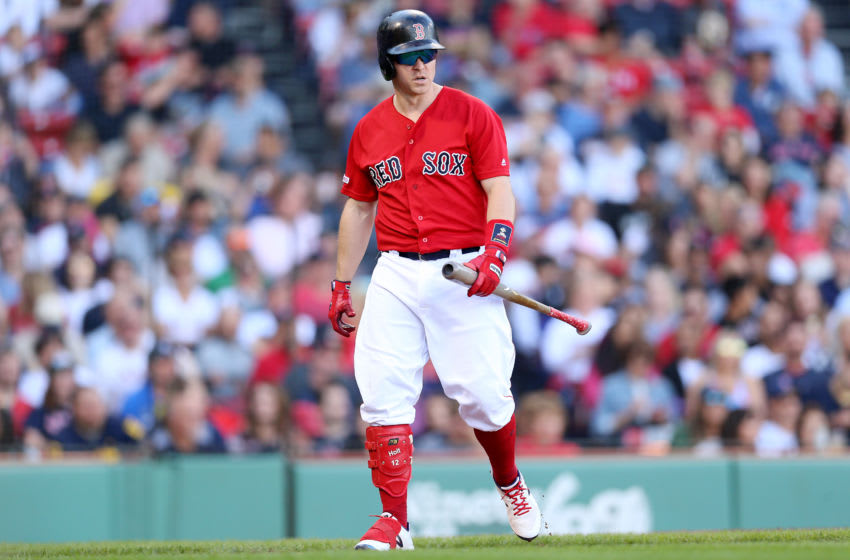 BOSTON, MASSACHUSETTS - SEPTEMBER 29: Brock Holt #12 of the Boston Red Sox looks on after striking out against the Baltimore Orioles at Fenway Park on September 29, 2019 in Boston, Massachusetts. (Photo by Maddie Meyer/Getty Images)