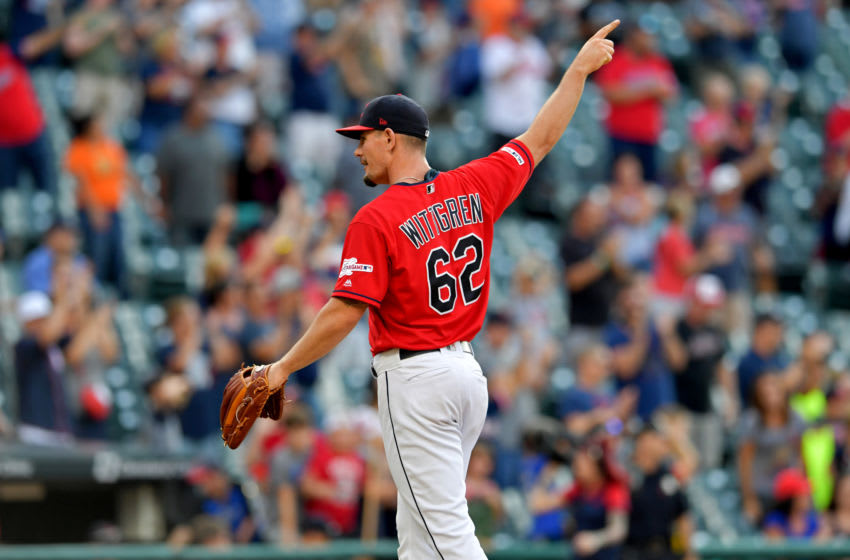 CLEVELAND, OHIO - AUGUST 07: Closing pitcher Nick Wittgren #62 of the Cleveland Indians reacts after the Cleveland Indians win the game against the Texas Rangers of game two of a double header at Progressive Field on August 07, 2019 in Cleveland, Ohio. (Photo by Jason Miller/Getty Images)