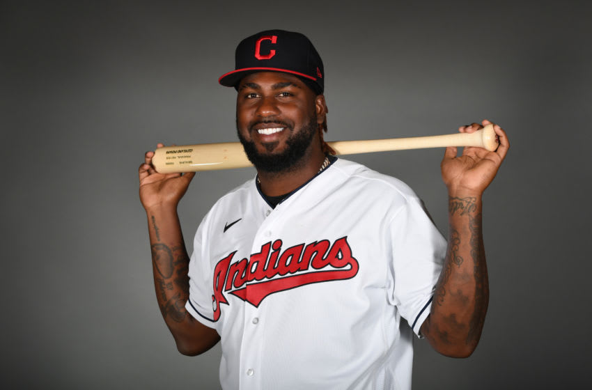 GOODYEAR, ARIZONA - FEBRUARY 19: Franmil Reyes #32 of the Cleveland Indians poses during MLB Photo Day on February 19, 2020 in Goodyear, Arizona. (Photo by Norm Hall/Getty Images)