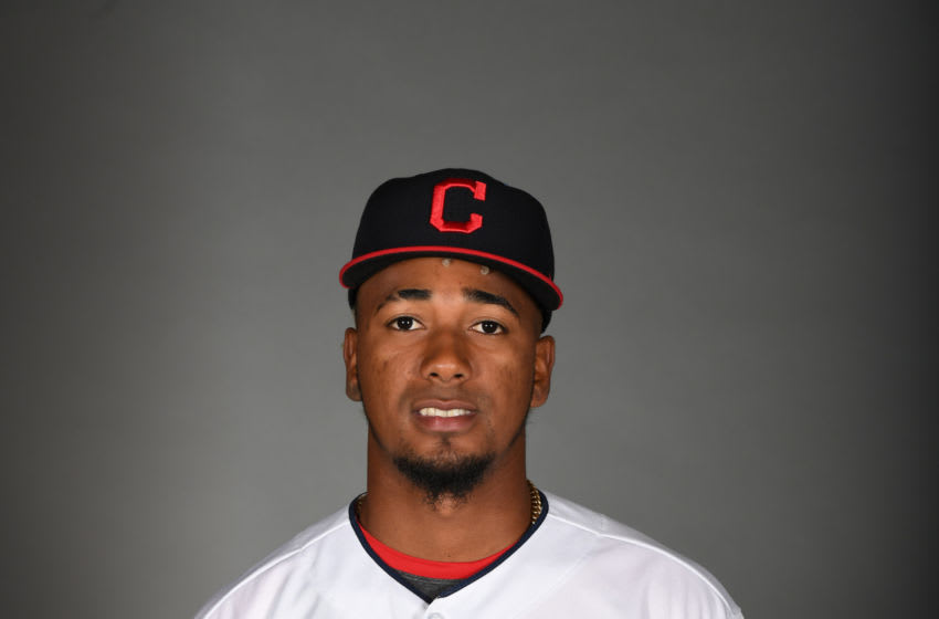 GOODYEAR, ARIZONA - FEBRUARY 19: Emmanuel Clase #48 of the Cleveland Indians poses during MLB Photo Day on February 19, 2020 in Goodyear, Arizona. (Photo by Norm Hall/Getty Images)