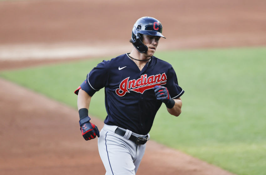 CLEVELAND, OH - JULY 13: Nolan Jones #95 of the Cleveland Indians rounds the bases after hitting a solo home run in the third inning of an intrasquad game during summer workouts at Progressive Field on July 13, 2020 in Cleveland, Ohio. (Photo by Ron Schwane/Getty Images)