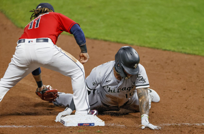 Jose Ramirez #11 of the Cleveland Indians (Photo by Ron Schwane/Getty Images)