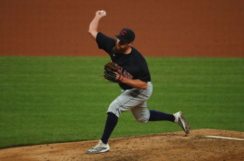 Bryan Shaw #27 of the Cleveland Indians (Photo by Dilip Vishwanat/Getty Images)