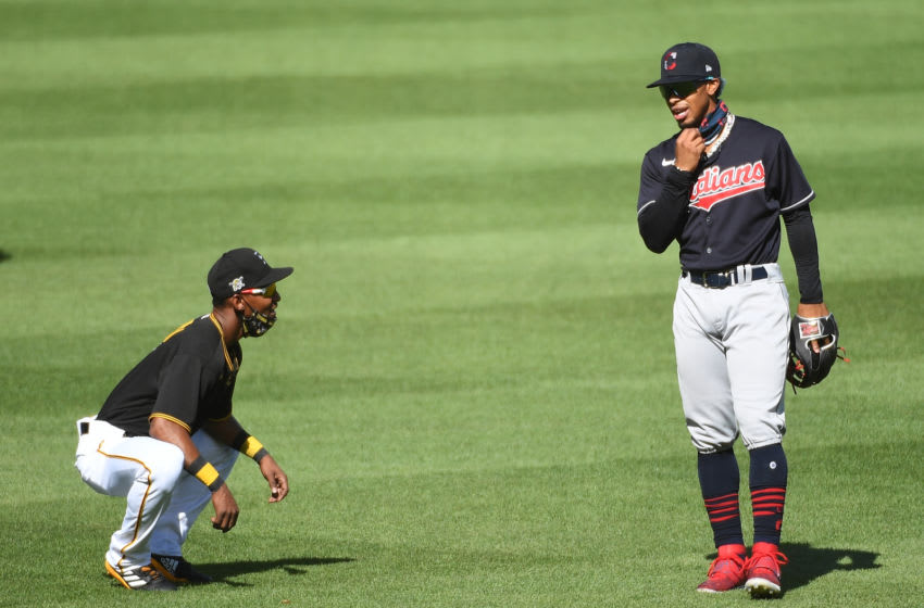 PITTSBURGH, PA - JULY 22: Francisco Lindor #12 of the Cleveland Indians talks with Jarrod Dyson #6 of the Pittsburgh Pirates before the exhibition game at PNC Park on July 22, 2020 in Pittsburgh, Pennsylvania. (Photo by Justin Berl/Getty Images)