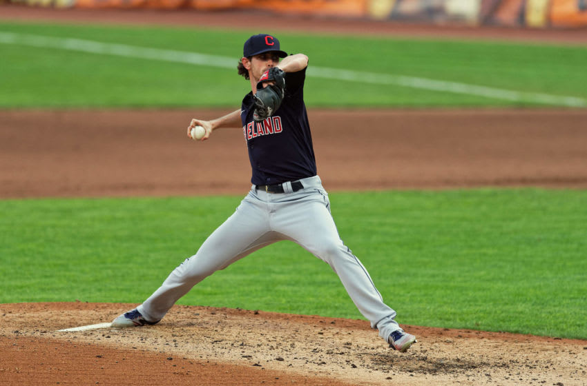 Shane Bieber #57 of the Cleveland Indians (Photo by Jamie Sabau/Getty Images)
