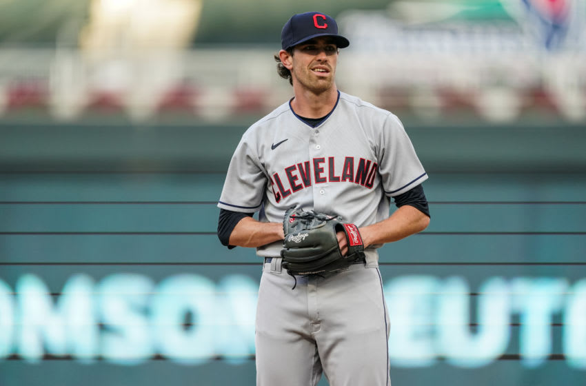 Shane Bieber #57 of the Cleveland Indians (Photo by Brace Hemmelgarn/Minnesota Twins/Getty Images)