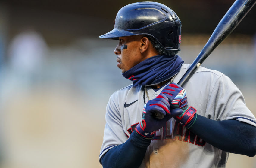 MINNEAPOLIS, MN - JULY 30: Francisco Lindor #12 of the Cleveland Indians bats against the Minnesota Twins on July 30, 2020 at Target Field in Minneapolis, Minnesota. (Photo by Brace Hemmelgarn/Minnesota Twins/Getty Images)