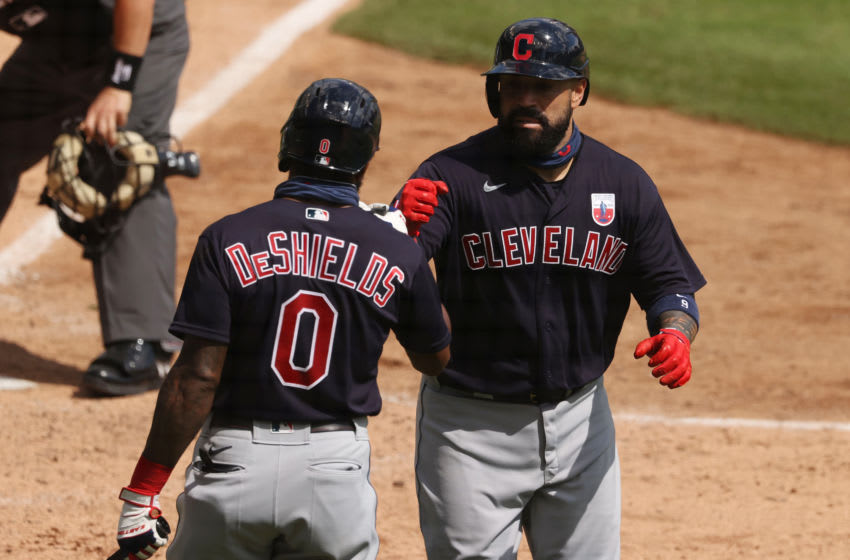DETROIT, MICHIGAN - AUGUST 16: Sandy Leon #9 of the Cleveland Indians celebrates his sixth inning home run with Delino DeShields #0 while playing the Detroit Tigers at Comerica Park on August 16, 2020 in Detroit, Michigan. (Photo by Gregory Shamus/Getty Images)