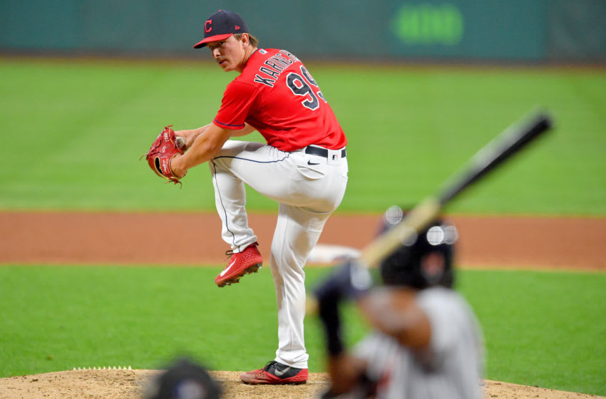 CLEVELAND, OHIO - AUGUST 22: Relief pitcher James Karinchak #99 of the Cleveland Indians pitches during the seventh inning against the Detroit Tigers at Progressive Field on August 22, 2020 in Cleveland, Ohio. The Indians defeated the Tigers 6-1. (Photo by Jason Miller/Getty Images)