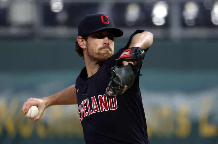 Starting pitcher Shane Bieber #57 of the Cleveland Indians (Photo by Jamie Squire/Getty Images)