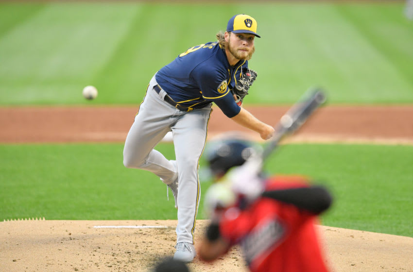CLEVELAND, OHIO - SEPTEMBER 04: Starting pitcher Corbin Burnes #39 of the Milwaukee Brewers pitches to Cesar Hernandez #7 of the Cleveland Indians during the first inning at Progressive Field on September 04, 2020 in Cleveland, Ohio. (Photo by Jason Miller/Getty Images)