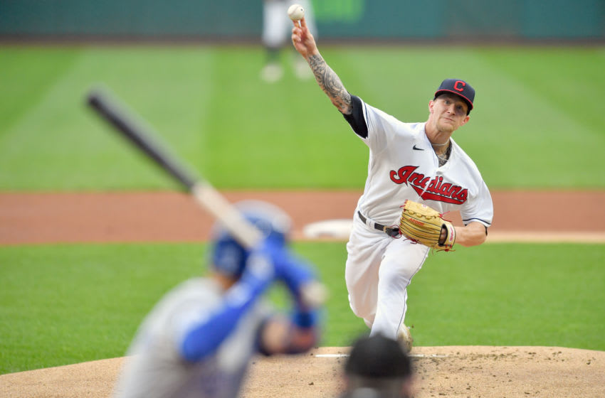 CLEVELAND, OHIO - SEPTEMBER 07: Starting pitcher Zach Plesac #34 of the Cleveland Indians pitches to Whit Merrifield #15 of the Kansas City Royals during the first inning at Progressive Field on September 07, 2020 in Cleveland, Ohio. (Photo by Jason Miller/Getty Images)