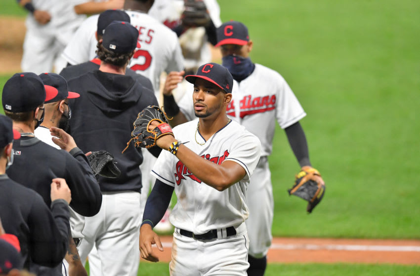 CLEVELAND, OHIO - SEPTEMBER 07: Oscar Mercado #35 of the Cleveland Indians celebrates with teammates after the Indians defeated the Kansas City Royals 5-2 at Progressive Field on September 07, 2020 in Cleveland, Ohio. (Photo by Jason Miller/Getty Images)