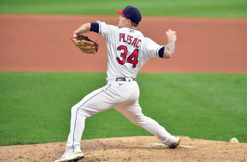 CLEVELAND, OHIO - SEPTEMBER 07: Starting pitcher Zach Plesac #34 of the Cleveland Indians pitches during the fourth inning against the Kansas City Royals at Progressive Field on September 07, 2020 in Cleveland, Ohio. (Photo by Jason Miller/Getty Images)