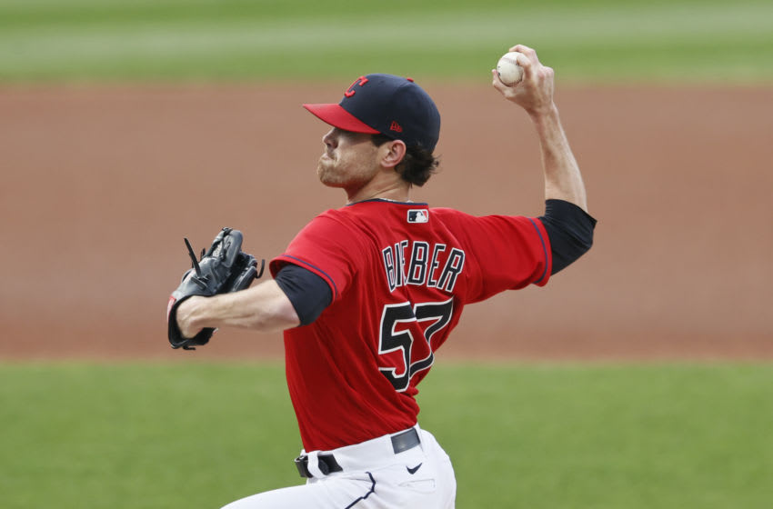 Shane Bieber #57 of the Cleveland Indians (Photo by Ron Schwane/Getty Images)
