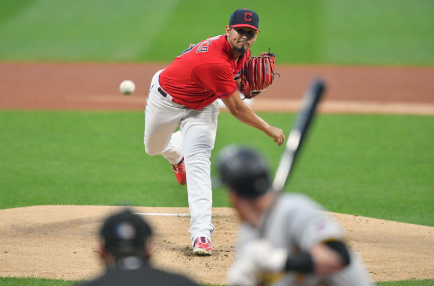 CLEVELAND, OHIO - SEPTEMBER 25: Starting pitcher Carlos Carrasco #59 of the Cleveland Indians pitches to Colin Moran #19 of the Pittsburgh Pirates at Progressive Field on September 25, 2020 in Cleveland, Ohio. (Photo by Jason Miller/Getty Images)