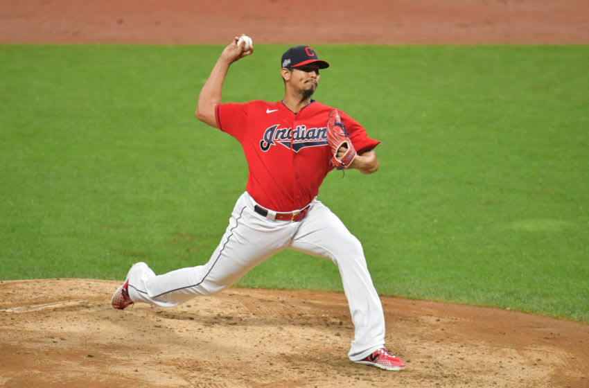 Starting pitcher Carlos Carrasco #59 of the Cleveland Indians (Photo by Jason Miller/Getty Images)
