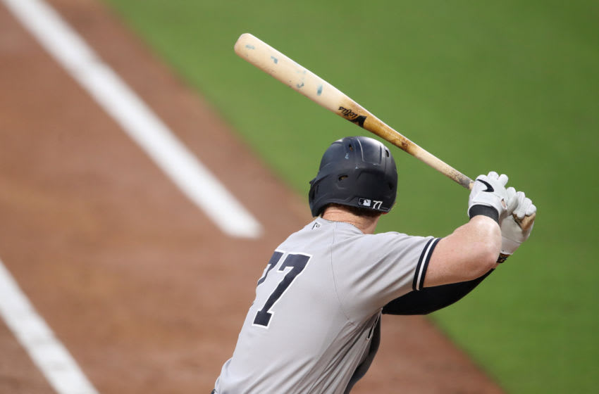 SAN DIEGO, CALIFORNIA - OCTOBER 05: Clint Frazier #77 of the New York Yankees bats during the fourth inning in Game One of the American League Division Series against the Tampa Bay Rays at PETCO Park on October 05, 2020 in San Diego, California. (Photo by Christian Petersen/Getty Images)