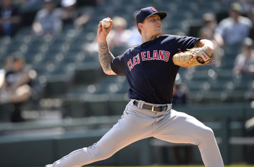 Zach Plesac #34 of the Cleveland Indians (Photo by Ron Vesely/Getty Images)