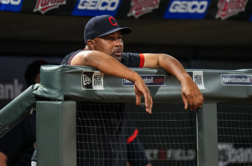 Interim manager DeMarlo Hale #33 of the Cleveland Indians / Cleveland Guardians (Photo by Brace Hemmelgarn/Minnesota Twins/Getty Images)