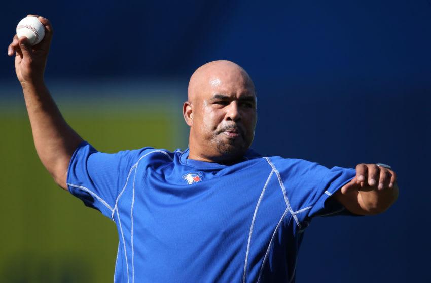 Bench coach DeMarlo Hale #16 of the Toronto Blue Jays (Photo by Tom Szczerbowski/Getty Images)