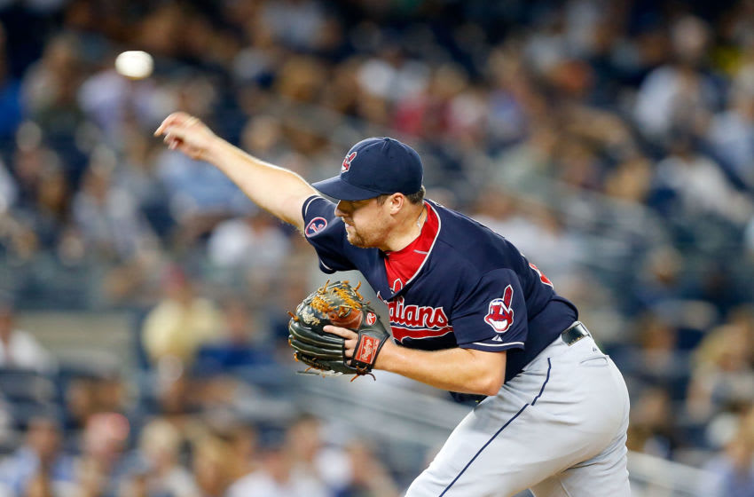 NEW YORK, NY - AUGUST 20: Bryan Shaw #27 of the Cleveland Indians in action against the New York Yankees at Yankee Stadium on August 20, 2015 in the Bronx borough of New York City. The Indians defeated the Yankees 3-2. (Photo by Jim McIsaac/Getty Images)