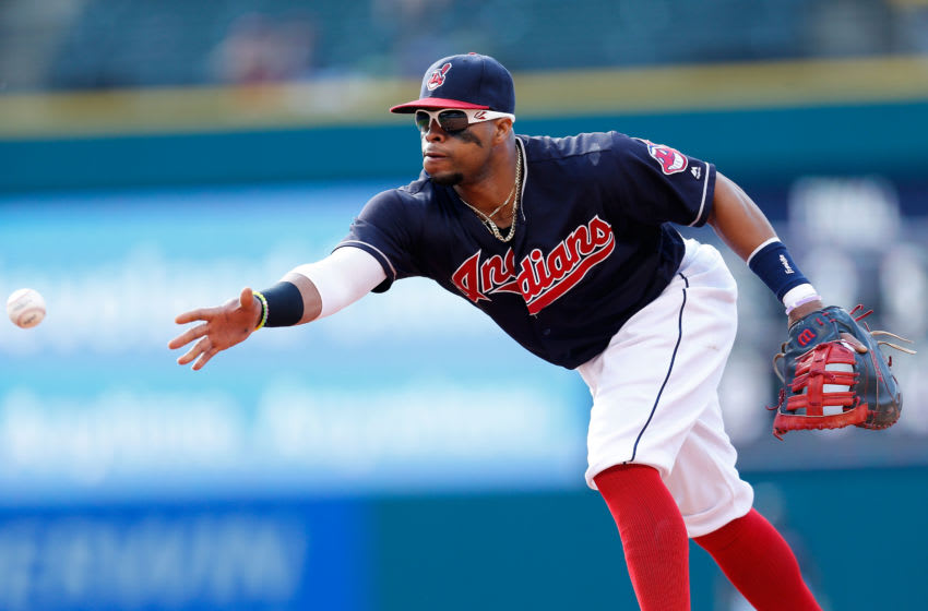 CLEVELAND, OH - JUNE 5: Carlos Santana #41 of the Cleveland Indians throws the ball to first base during the game against the Kansas City Royals at Progressive Field on June 5, 2016 in Cleveland, Ohio. Cleveland defeated Kansas City 7-0. (Photo by Kirk Irwin/Getty Images)