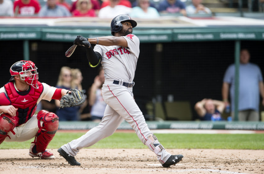 CLEVELAND, OH - AUGUST 15: Jackie Bradley Jr. #25 of the Boston Red Sox hits a single to center during the fourth inning against the Cleveland Indians at Progressive Field on August 15, 2016 in Cleveland, Ohio. (Photo by Jason Miller/Getty Images)