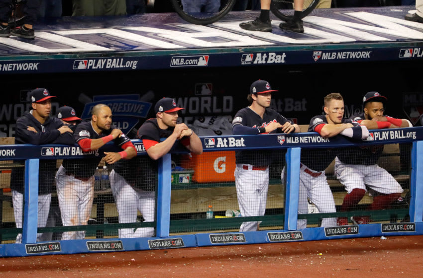 CLEVELAND, OH - NOVEMBER 02: The Cleveland Indians look on from the dugout against the Chicago Cubs in Game Seven of the 2016 World Series at Progressive Field on November 2, 2016 in Cleveland, Ohio. (Photo by Jamie Squire/Getty Images)